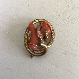 Jewelry - Antique Victorian Gold Fill Coral Love Knot Pin